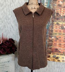 Liz Baker Zippered Women's Vest Brown Size 2X, EUC